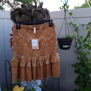 SPELL GYPSY LIONESS RUCHED SKIRT NWT